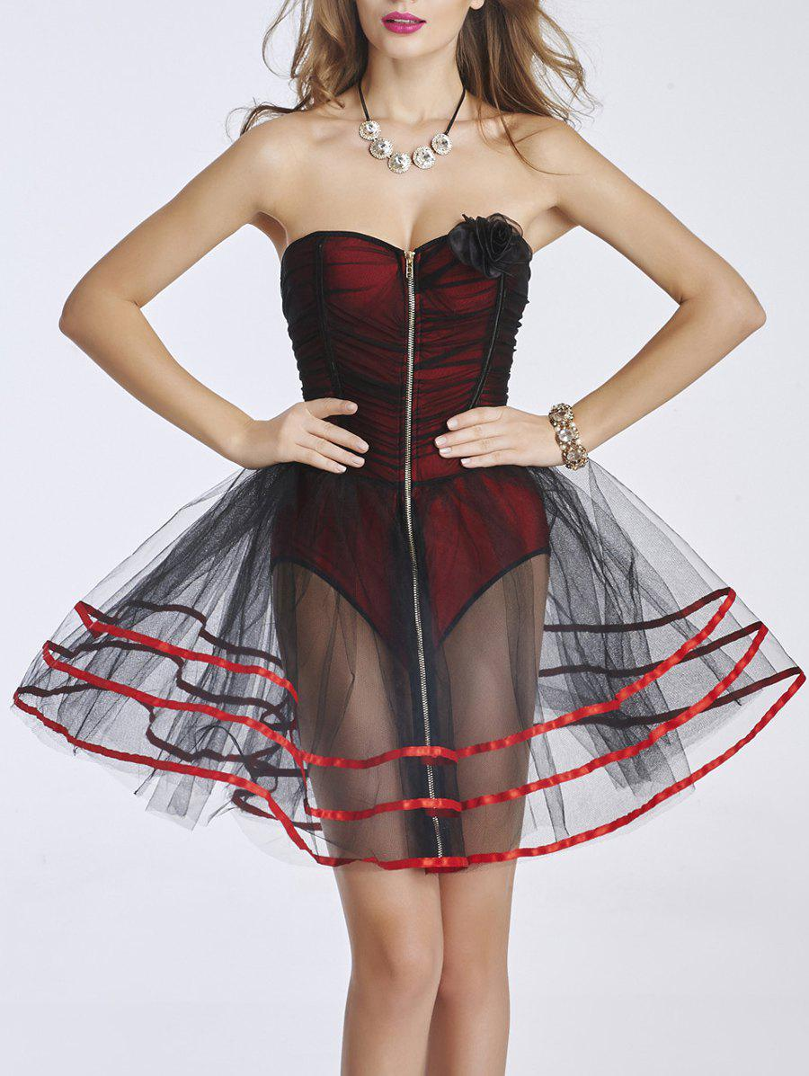 Bustier zippé Mesh Dress - Rouge M