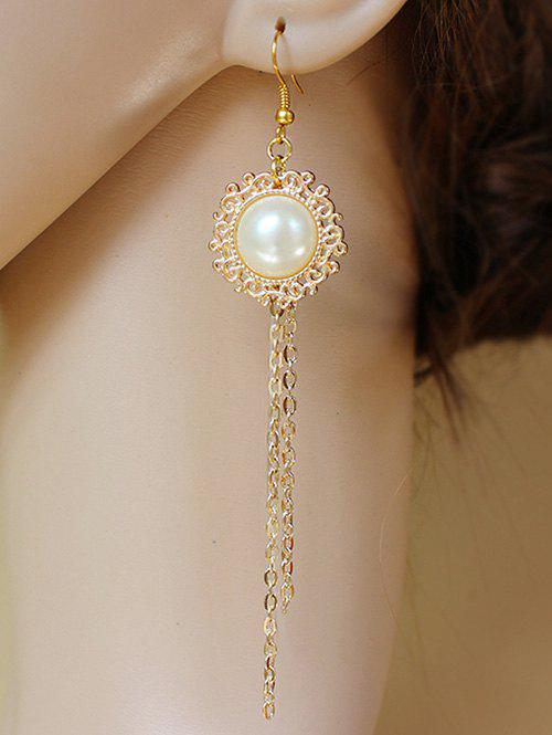 Pair of Faux Pearl Filigree Chain Fringe Earrings - GOLDEN