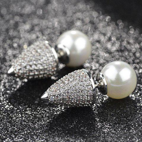 Pair of Chic Faux Pearl Double-end Rhinestone Cone Earrings