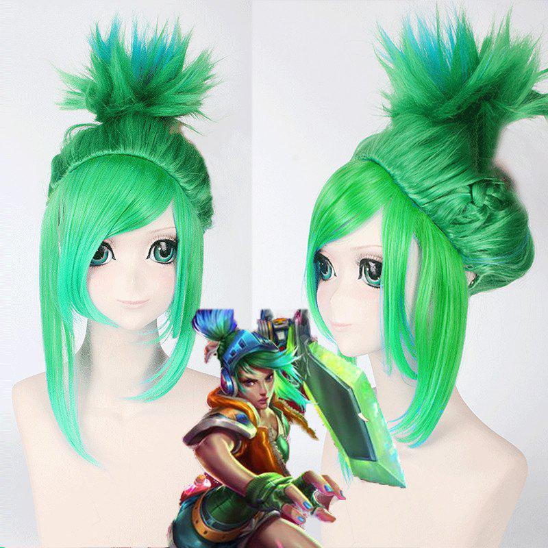 League of Legends LOL	Arcade Riven Fluffy Blue Mixed Green Straight Cosplay Wig