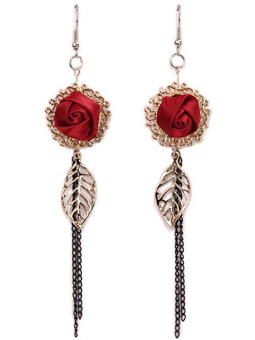 Pair of Ribbon Rose Filigree Chain Tassel Earrings - RED