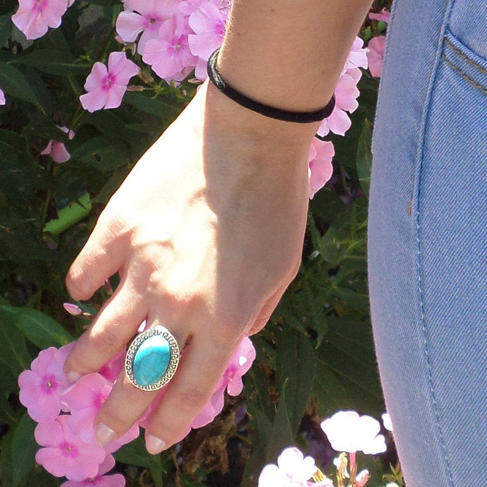 Retro Style Adjustable Turquoise Finger Ring For Women - TURQUOISE
