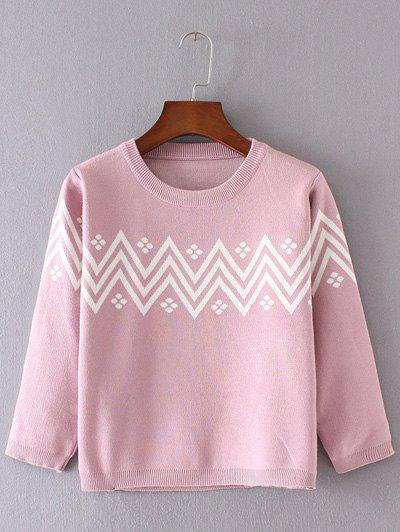 Jacquard Sweater and Zig-Zag Print Skirt Twinset - PINK ONE SIZE