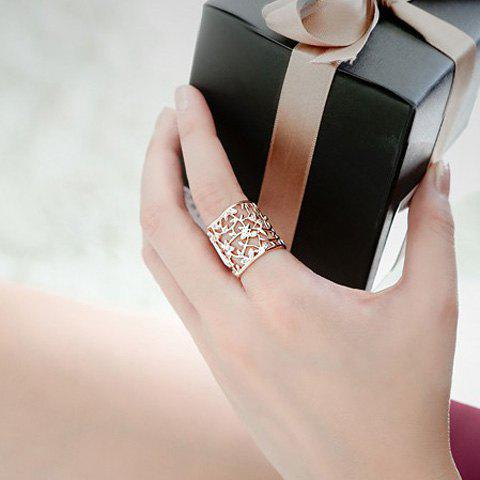 Hollow Out Rhinestone Filigree Floral Ring - ROSE GOLD