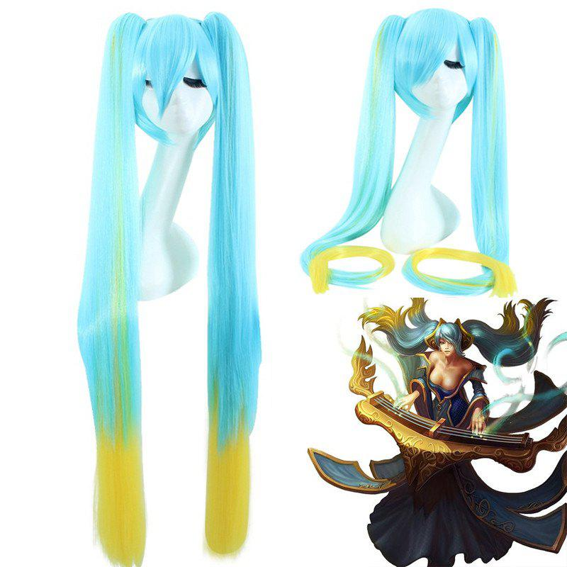 League of Legends LOLSonaSilky Straight With Bunches Blue Ombre Yellow Cosplay Wig - COLORMIX