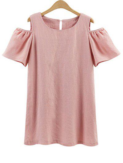 Plus Size Cold Shoulder Mini Tunic Dress - PINK 4XL