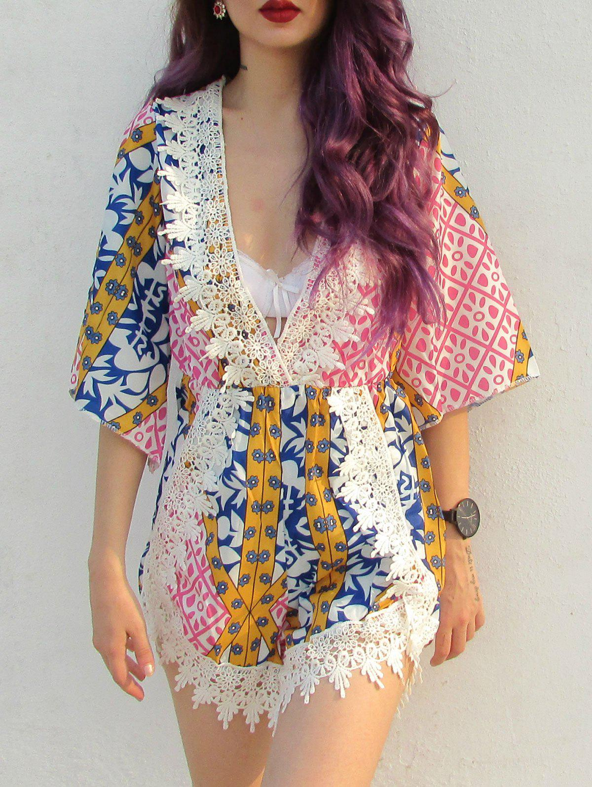 Laciness Plunging Neck Tribal PatternRomper - COLORMIX M