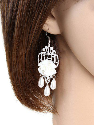 Pair of Faux Pearl Resin Rose Lace Earrings - WHITE