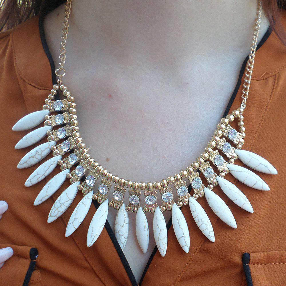 Faux Stone Clutter Necklace - WHITE