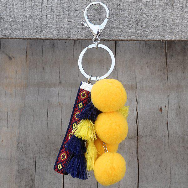 Embroidered Geometric Tassel Ball Keyring - YELLOW