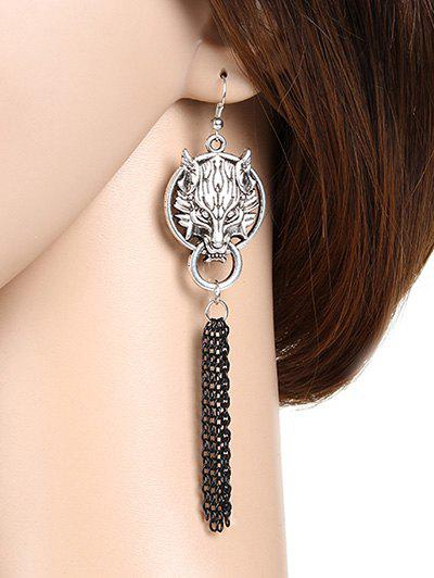 Pair of Wolf Head Chain Fringe Earrings - SILVER