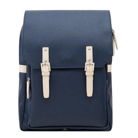Trendy PU Leather and Double Buckle Design Men's Backpack - PURPLISH BLUE