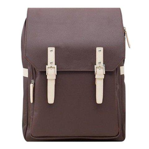 Trendy PU Leather and Double Buckle Design Men's Backpack - COFFEE