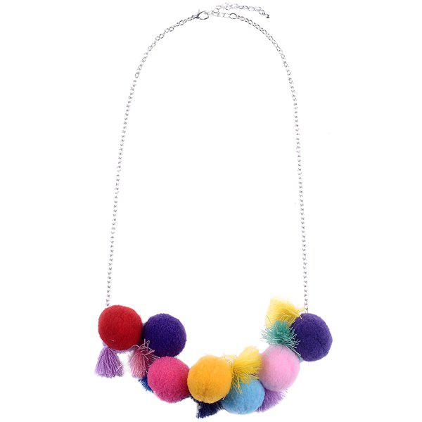 Tassel Pom Ball Necklace - COLORMIX