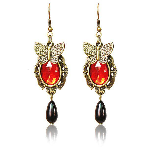 Pair of Vintage Copper Plated Butterfly Oval Faux Crystal Teardrop Earrings - RED