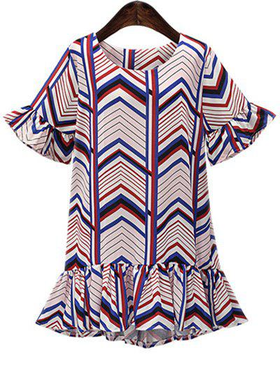 Oversized Colorful Zigzag Frilly  Mini Dress - COLORMIX 5XL
