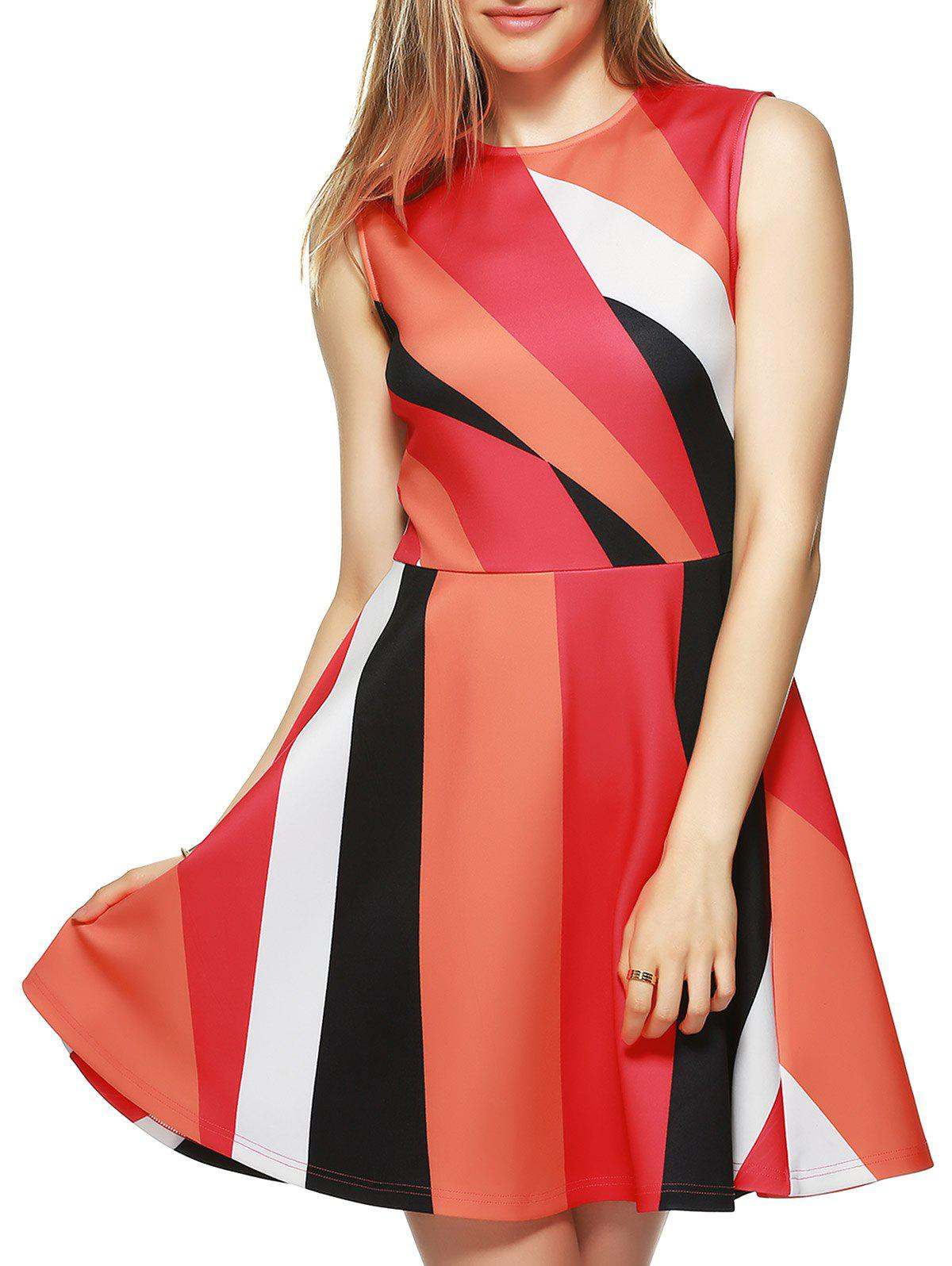Color Block Fit and Flare Dress - RED S