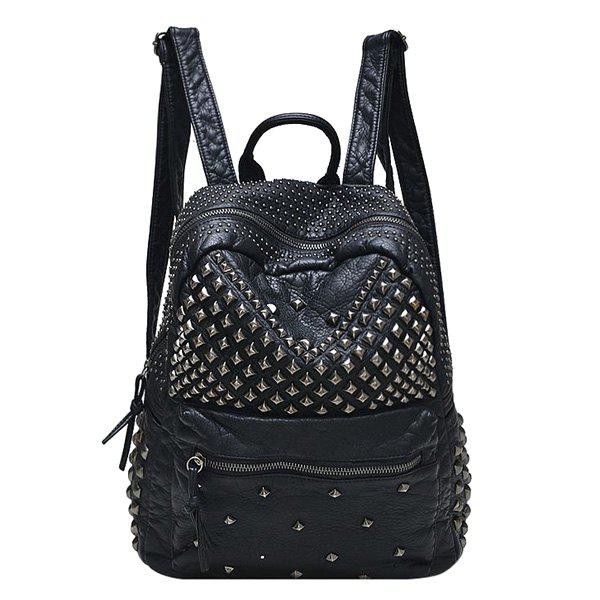 Stylish Solid Colour and Metal Rivets Design Women's Backpack - BLACK