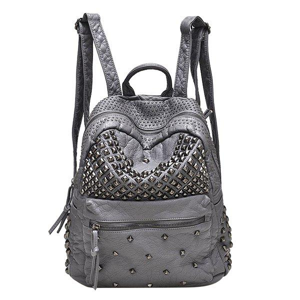 Stylish Solid Colour and Metal Rivets Design Women's Backpack - GRAY