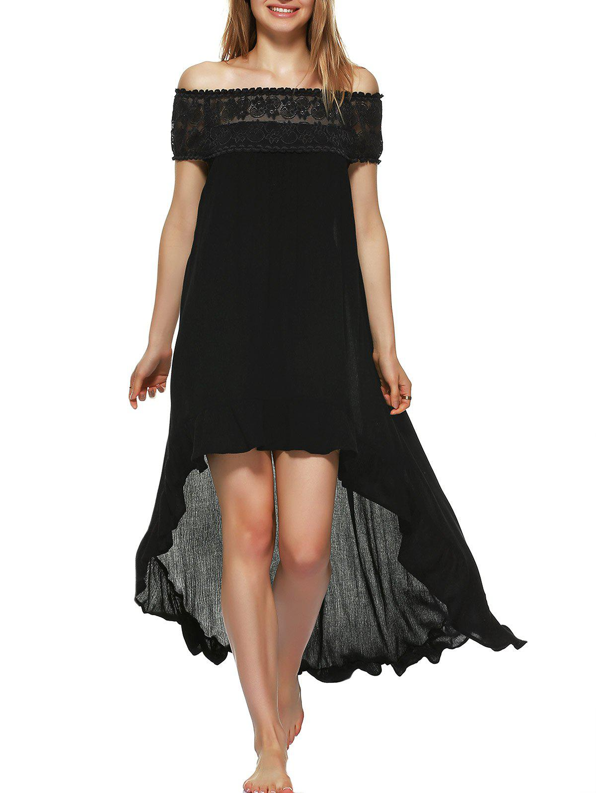 Lace Patchwork High Low Hem Dress - BLACK XL