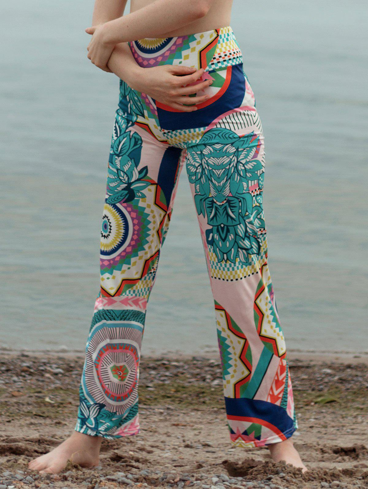 Tribal Pattern Straight Colorful Pants - GREEN S