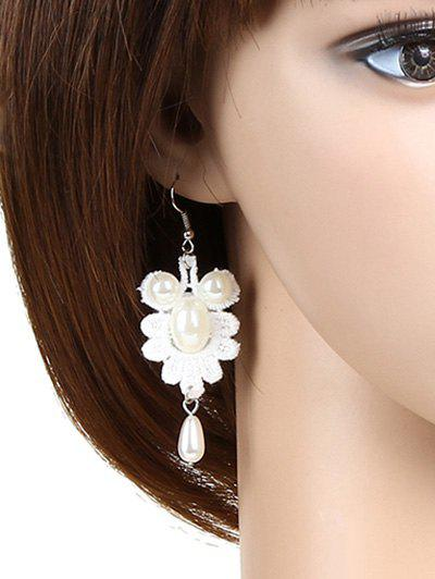 Pair of Faux Pearl Goldfish Lace Earrings - WHITE