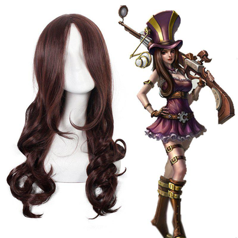 League of Legends LOL	Caitlyn Dark Brown Shaggy Wave Long Layered Synthetic Cosplay Wig - DEEP BROWN