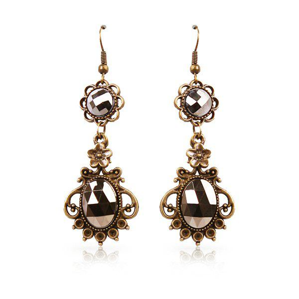 Pair of Delicate Etched Alloy Geometric Rhinestone Floral Drop Earrings - GUN METAL