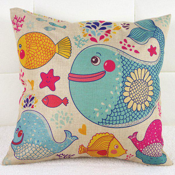 Ocean Fish Whale Pattern Cartoon Sofa Pillow Case - COLORFUL
