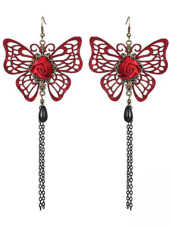 Pair of Hollowed Butterfly Rose Chain Tassel Earrings - RED