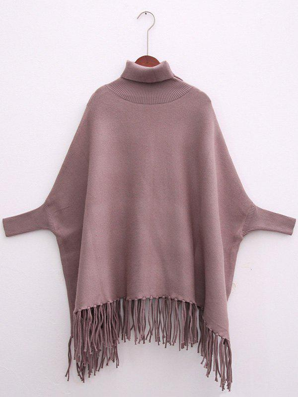 Fringed Batwing Sleeves Sweater - LIGHT COFFEE ONE SIZE