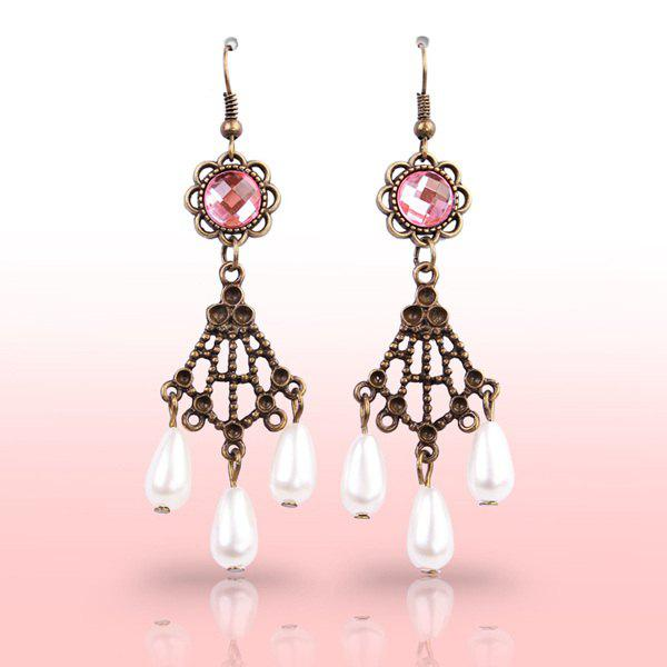 Pair of Delicate Fuax Crystal Etched Alloy Teardrop Floral Earrings - WHITE