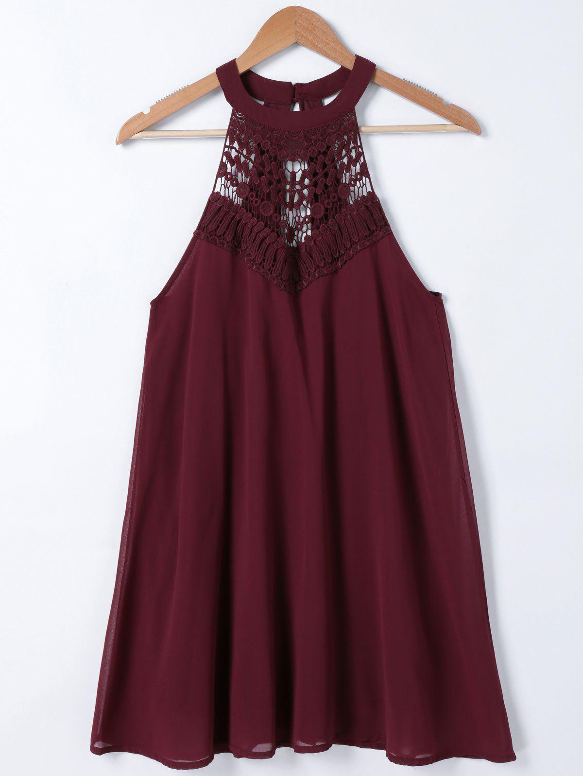 Lace Splicing Round Neck Sleeveless Dress - DARK RED ONE SIZE