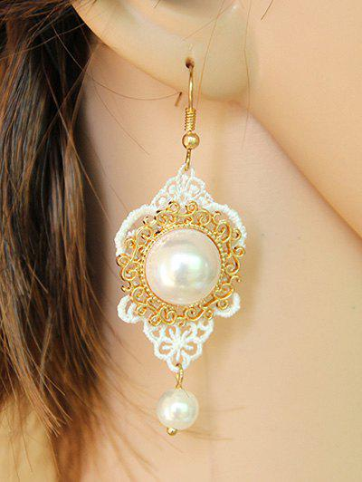 Pair of Faux Pearl Filigree Lace Earrings - WHITE