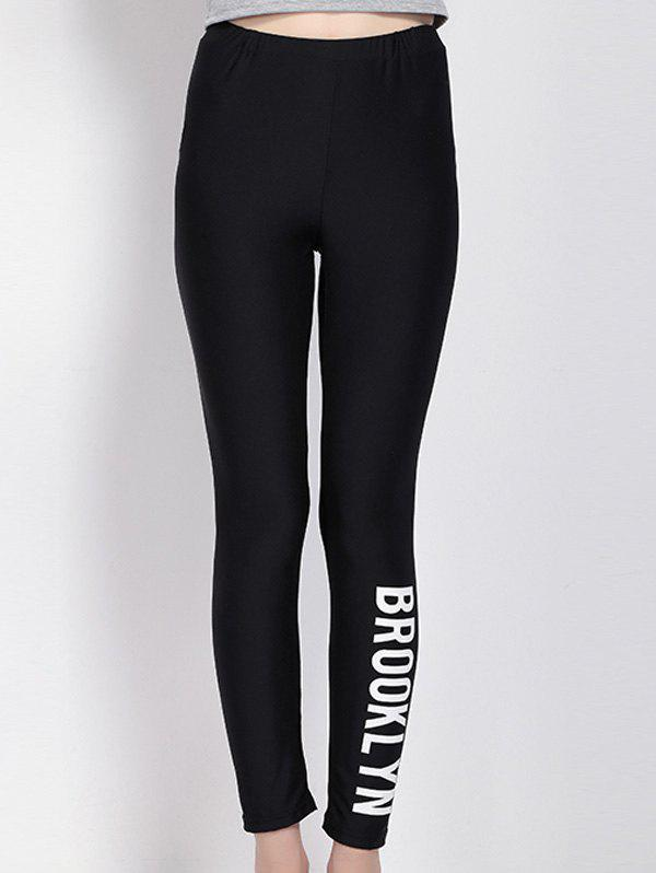 High Waist Letter Print Black Leggings - BLACK L