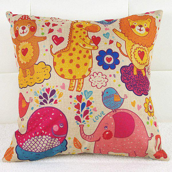 Flower Heart Animal Dancing Design Cartoon Pillow Case - COLORFUL