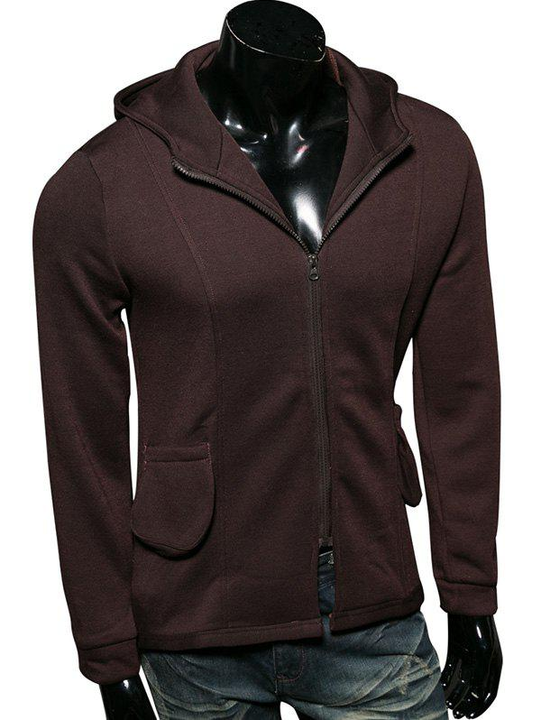 Pocket Embellished Zip Up Long Sleeve Hoodie - COFFEE M