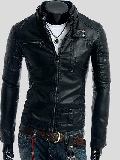 Stand Collar Long Sleeve Rivet Embellished Faux Leather Jacket