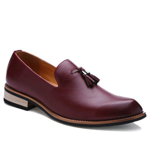 Retro Height Increasing and Tassels Design Men's Formal Shoes - WINE RED 43