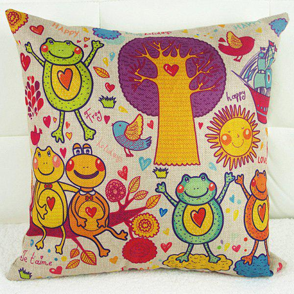Frog Dancing Bird Cartoon Pattern Sofa Pillow Case - COLORFUL
