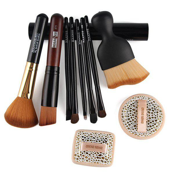 Cosmetic 5 Pcs Eye Makeup Brushes Set with Brush Holder + 2 Pcs Powder Puffs + Wave Shape Blush Brush + Blush Brush + Foundation Brush classic world natural wood hand crafted brain teaser candy color gear game educational toys puzzles for children material learn