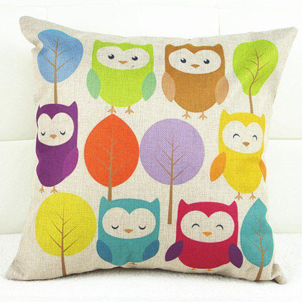 Cartoon Colorful Owl and Tree Pattern Linon Pillow Case - COLORFUL