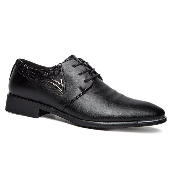 Trendy Metal and Lace-Up Design Men's Formal Shoes - BLACK 43