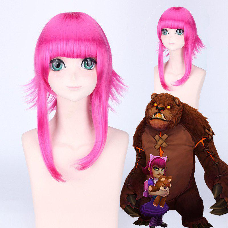 League of Legends LOL	Classic Annie Rose Fluffy Straight Anti Alice Hair Cosplay Wig - ROSE RED
