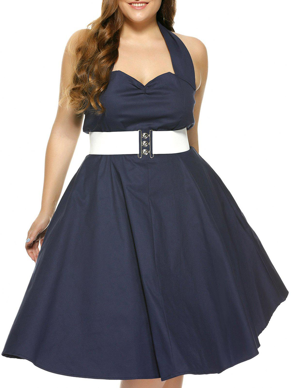 Plus Size Halter Open Back Pin Up DressWomen<br><br><br>Size: XL<br>Color: PURPLISH BLUE