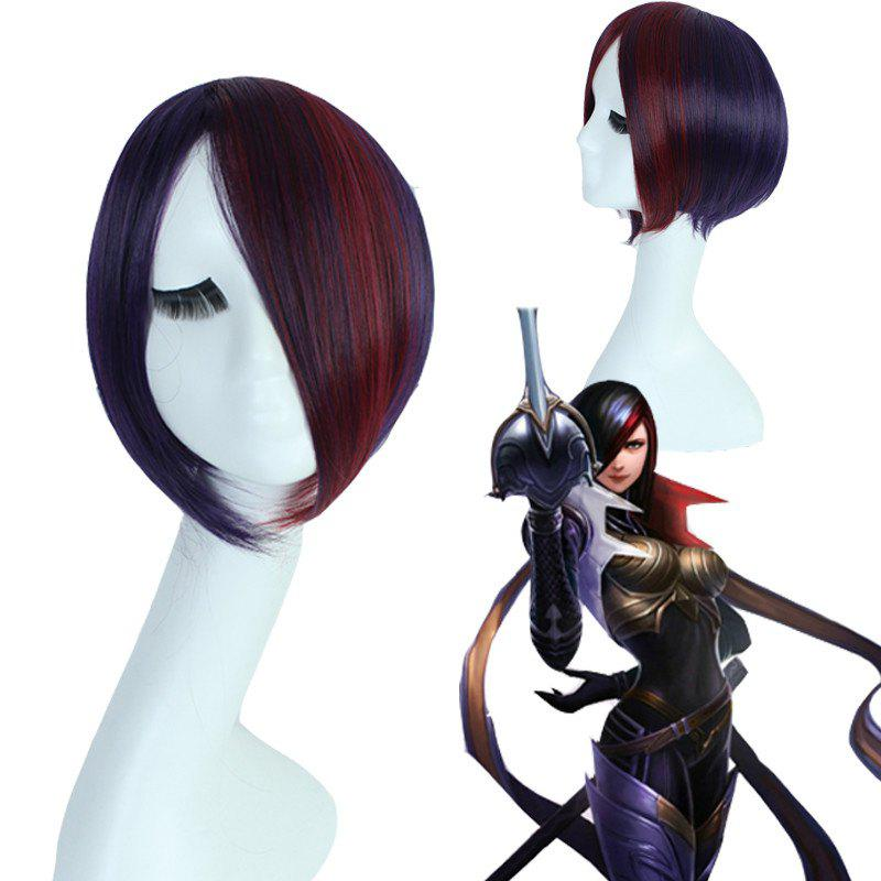 League of Legends LOL	Classic Fiora Straight Short Multi-Colored Mixed Synthetic Cosplay Wig - COLORMIX