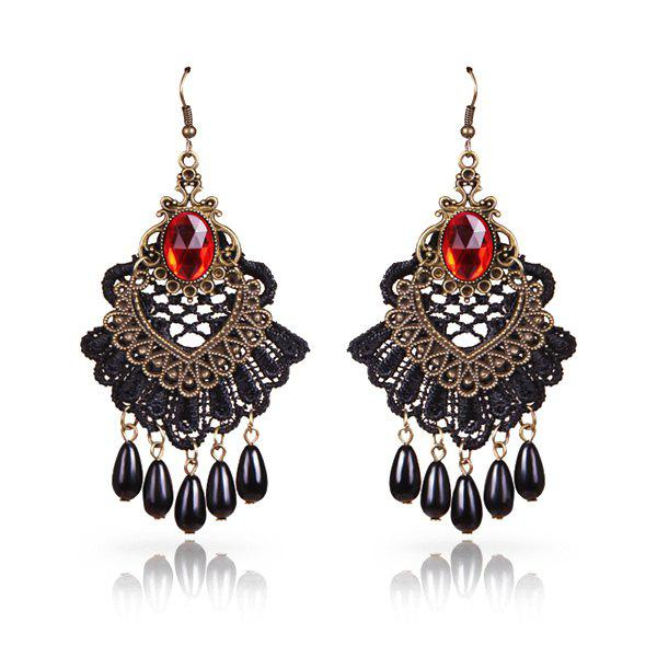 Pair of Vintage Cut Out Scalloped Lace Teardrop Earrings