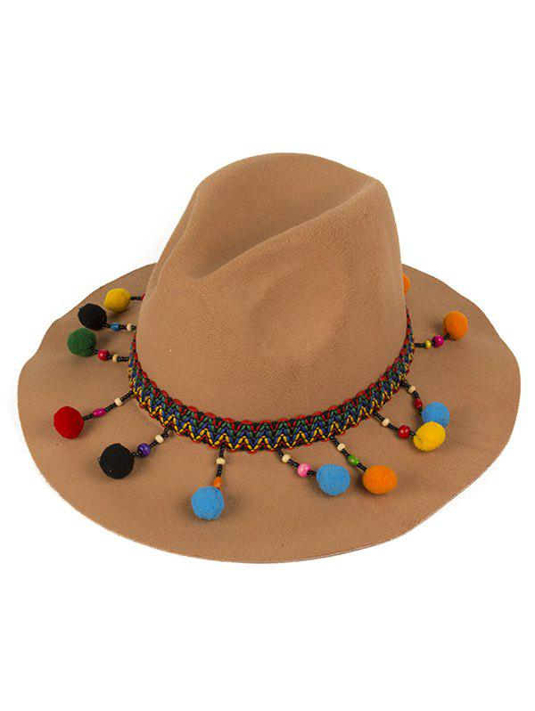 Small Pompon Pendant Ethnic Belt Felt Jazz Hat - CAMEL