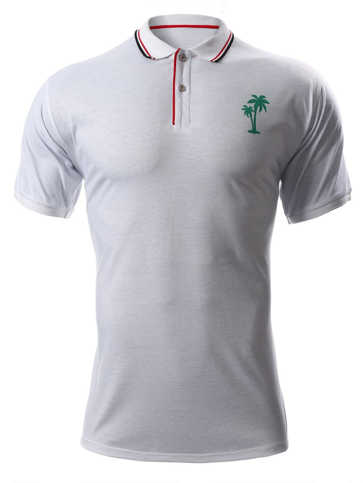 Turn-Down Collar Tree Print Short Sleeve Men's Polo T-Shirt