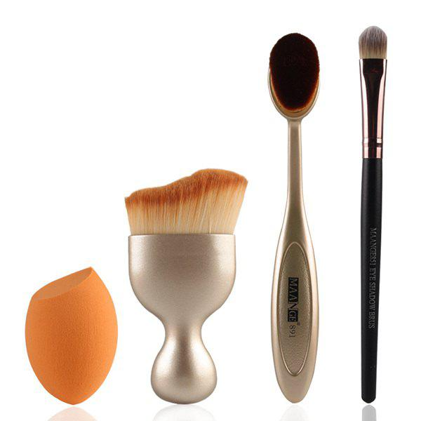 Cosmetic 4 Pcs/Set Wave Shape Blush Brush + Foundation Brush + Eyeshadow Brush + Bevel Cut Makeup Sponge - GOLDEN